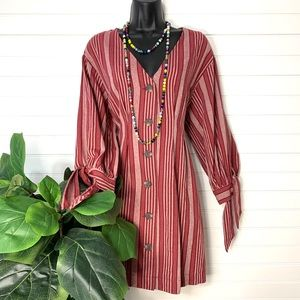 Wine Color Stripe Dress with Tie Sleeves